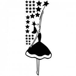 Adesivo infantil fada e estrelas