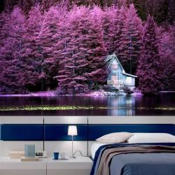 Papel de parede árvores rosa