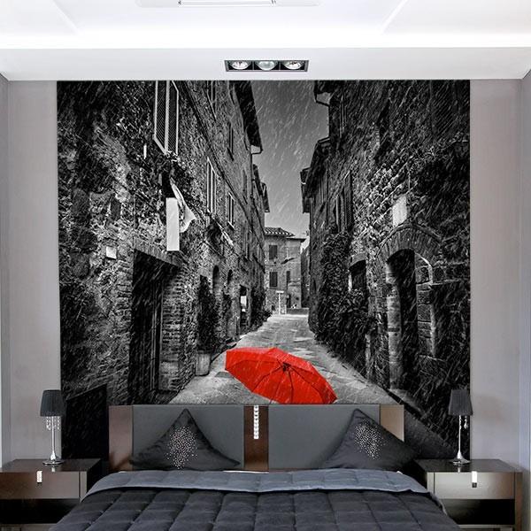 Mural guarda-chuva vermelho