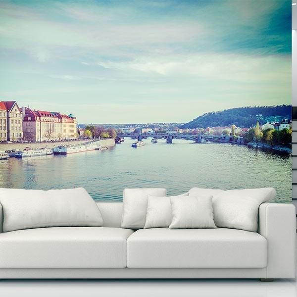 Mural de parede barco no rio de veneza