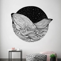 Vinil de parede círculo baleia