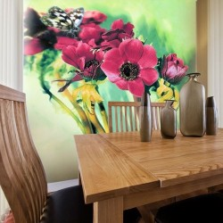 Mural flores e borboleta