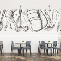 Mural ilustração de pastelaria