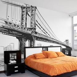 Mural ilustração ponte de...