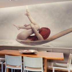 Papel pintado mulher em colher