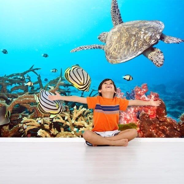 Vinil de parede tartaruga e peixes