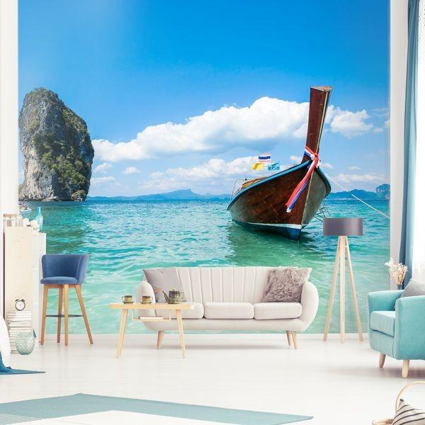 Mural barco na praia