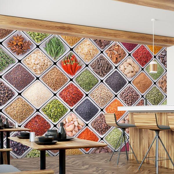 Mural especiarias e legumes