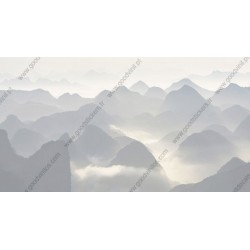 Mural montanhas em branco e negro