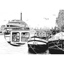 Mural ilustração de Paris