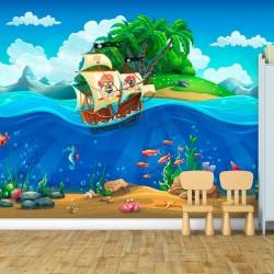 Mural decorativo piratas