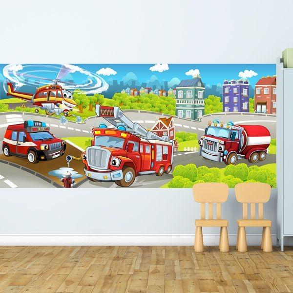 Mural infantil bombeiros