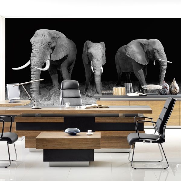 Mural decorativo familia de elefantes