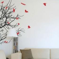 Vinil árvore com pássaros