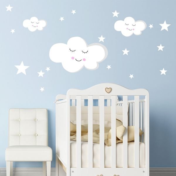 Vinil bebê nuvens e estrelas