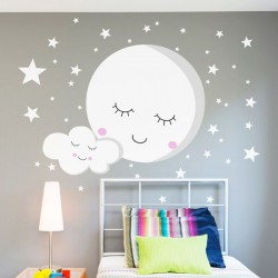 Vinil infantil Lua e estrelas