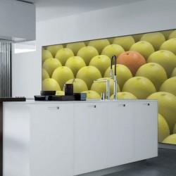 Mural de parede laranja e...