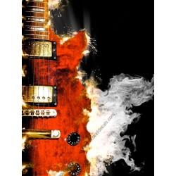 Vinil mesa guitarra com fogo