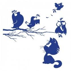 Vinil infantil gato e pássaros
