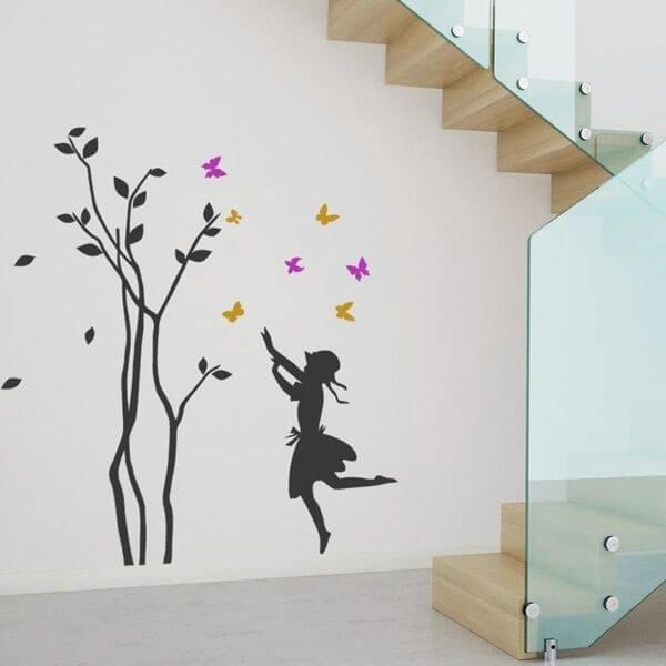 Vinil infantil árvore e borboletas