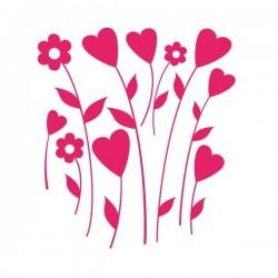 Vinil de flores e corações