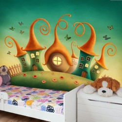 Mural decorativo casa gnomos