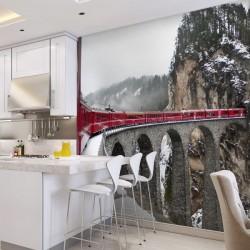 Mural comboio nas montanhas