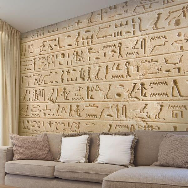 Mural de parede hieróglifo