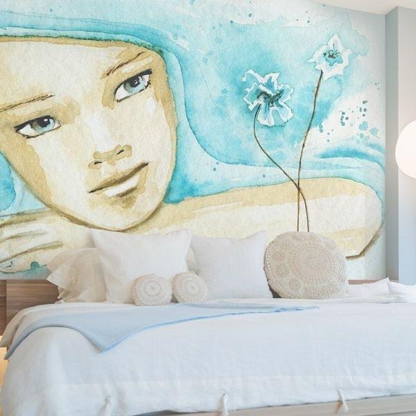 Vinil de parede menina aquarela
