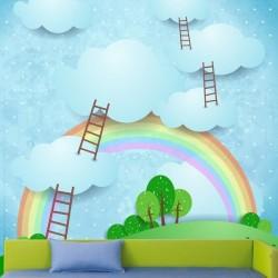 Mural de parede escada nuvens
