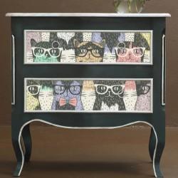Autocolante para móveis gatos com óculos