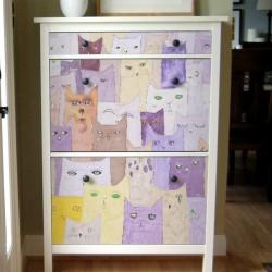 Vinil para móveis pintura gatos