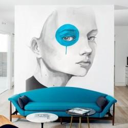 Mural de parede menina olho azul