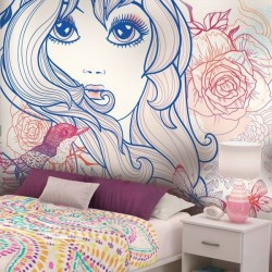 Mural decorativo menina com...