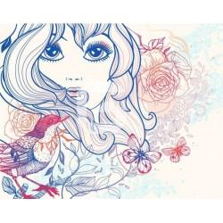 Mural decorativo menina com flores