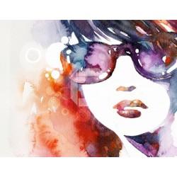 Mural de parede menina de óculos