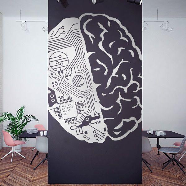 Autocolante cérebro robô e humano