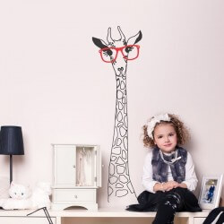 Adesivo girafa com óculos 3
