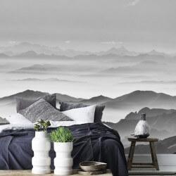 Mural névoa nas montanhas