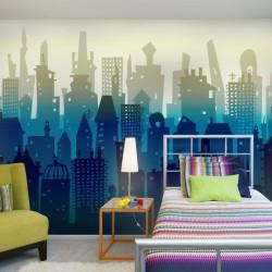 Papel de parede cidade azul