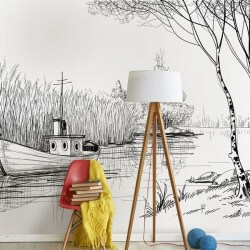 Foto mural desenho de lagoa