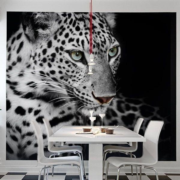 Papel pintado leopardo branco