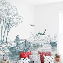 Mural de parede barcos