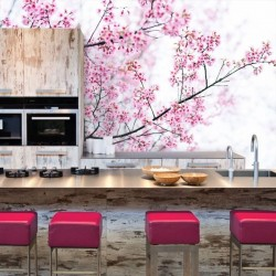 Mural amendoeira em flor
