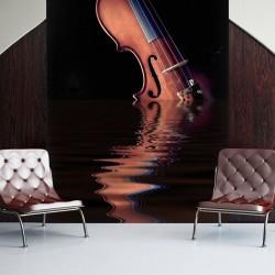Foto mural violino sobre água
