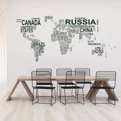 Autocolante Mapa mundo com nomes