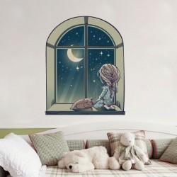 Autocolante menina na janela