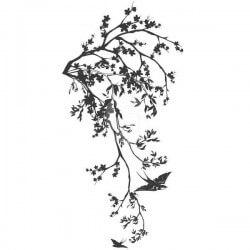 Autocolante ramo com pássaro