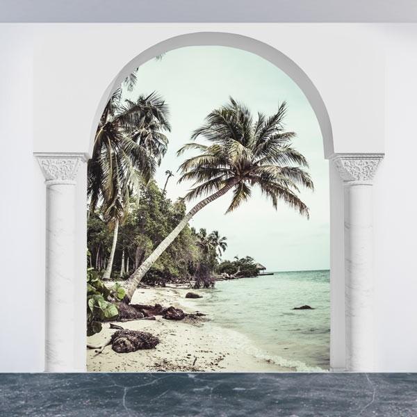 Vinil de ilusão ótica praia