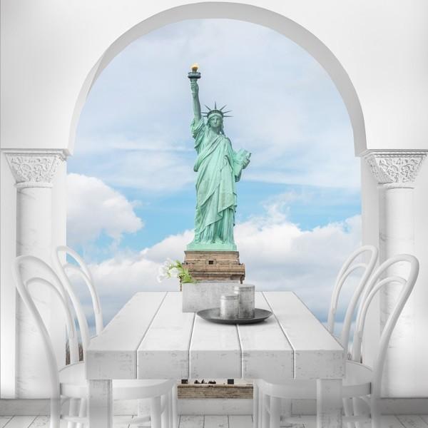 Mural ilusão ótica Estátua Liberdade